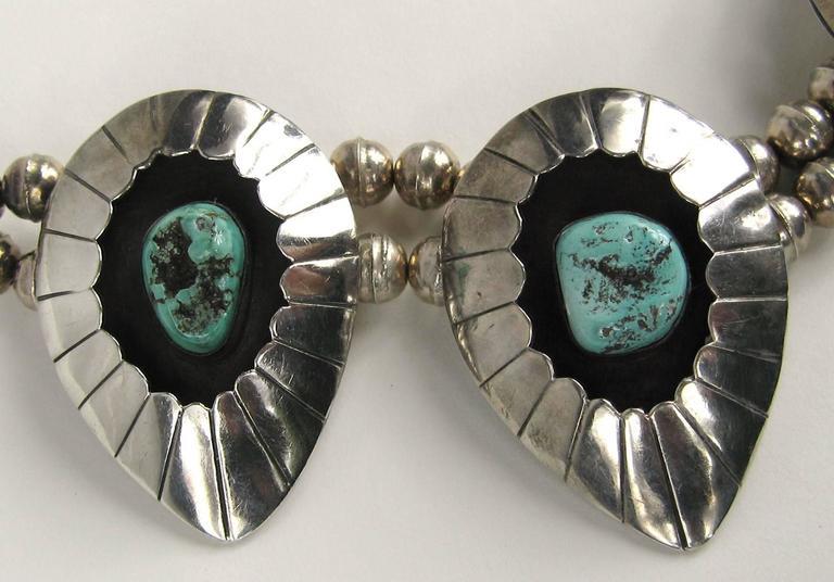 Navajo Shadow Box Squash Turquoise Matrix Sterling silver Necklace 3