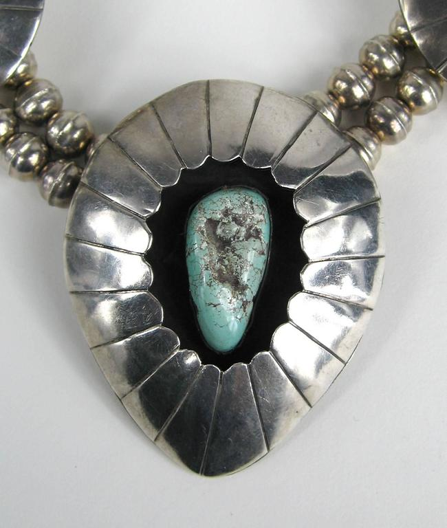 Navajo Shadow Box Squash Turquoise Matrix Sterling silver Necklace 4