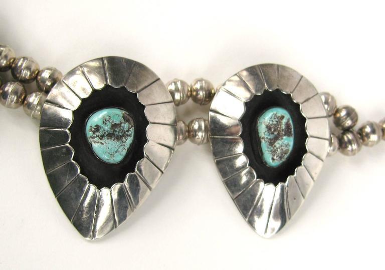 Navajo Shadow Box Squash Turquoise Matrix Sterling silver Necklace 5