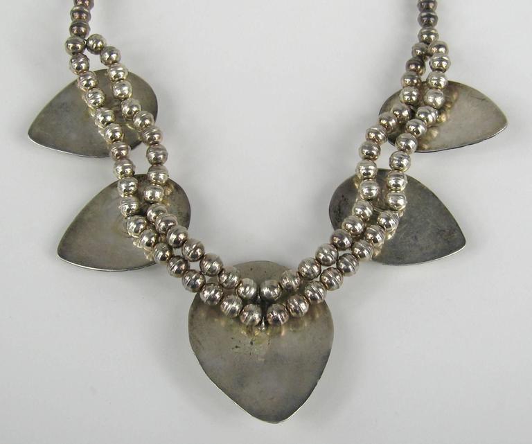 Navajo Shadow Box Squash Turquoise Matrix Sterling silver Necklace 6