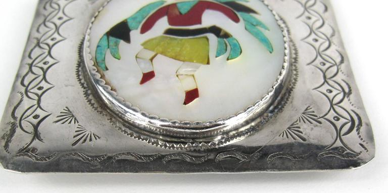 Women's or Men's Zuni Native American kachina Inlaid Sterling Silver Belt Buckle  For Sale