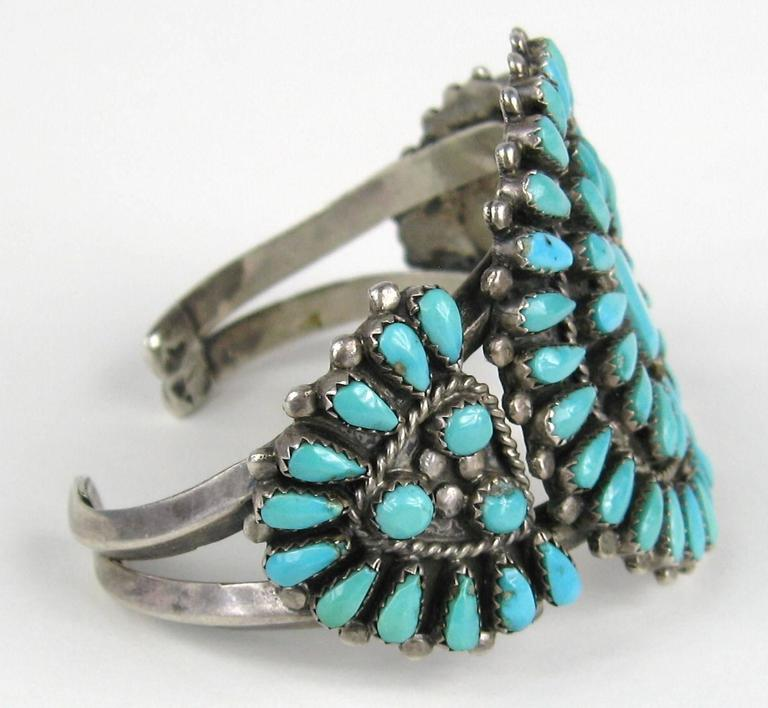 Zuni Native American Zuni Needle point Turquoise Bracelet Unisex  4