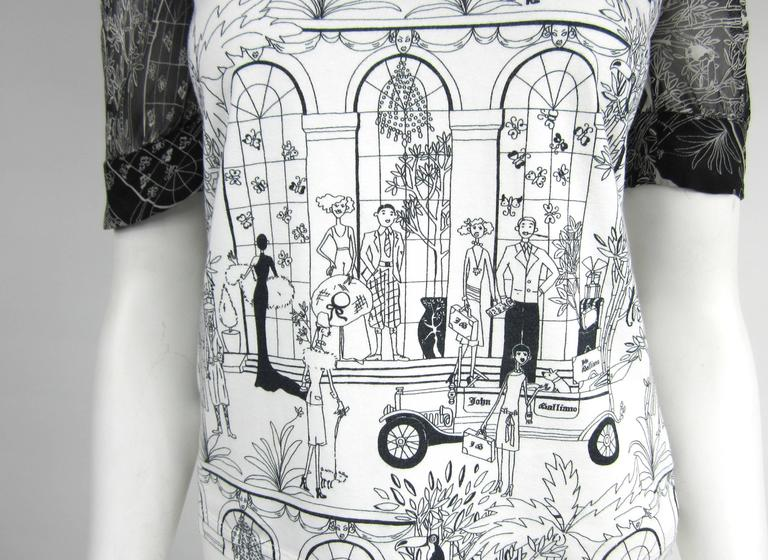 1990s John Galliano Whimsical Print Tee Shirt  2
