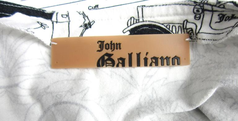 1990s John Galliano Whimsical Print Tee Shirt  5