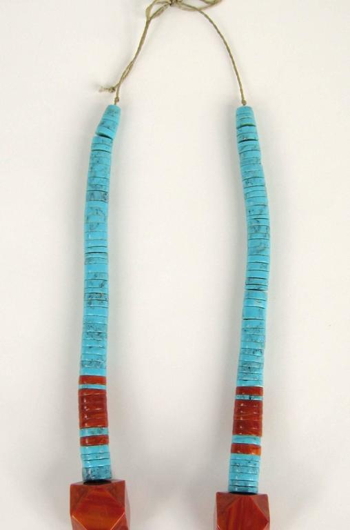 Native American OLD pawn Santo Domingo Turquoise & Spiny Oyster Heishi Jacla Necklace For Sale