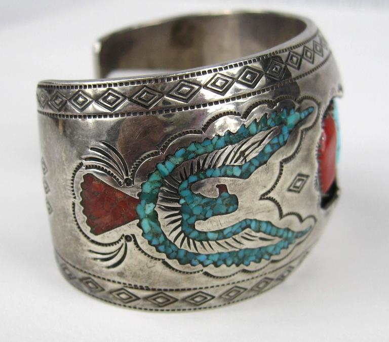 Navajo Sterling Silver Turquoise - Coral Shadow Box Cuff Bracelet  In Excellent Condition For Sale In Wallkill, NY