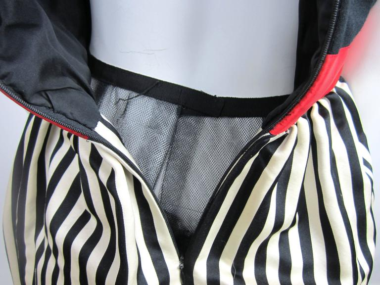 Vintage 1980s Bill Blass Black & White red striped baby doll dress  For Sale 1