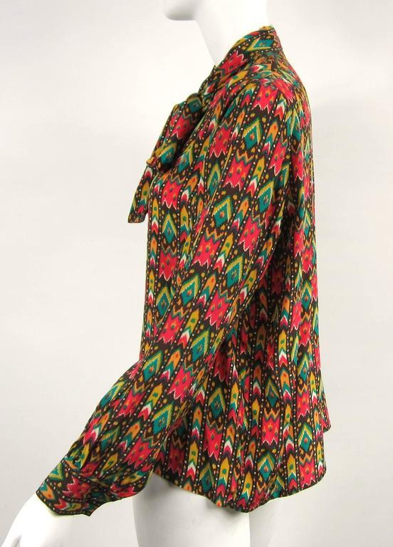 Black 1970s Vintage Yves Saint Laurent Silk Multi Colored Blouse Russian Collection 76 For Sale