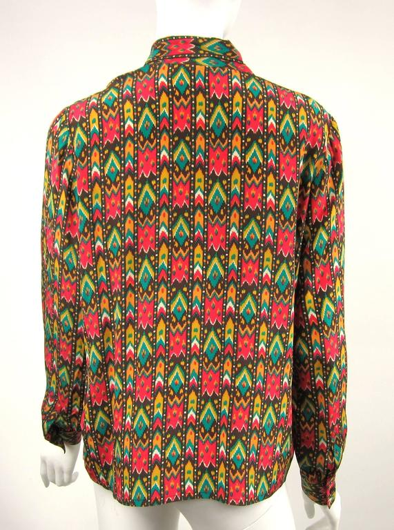 1970s Vintage Yves Saint Laurent Silk Multi Colored Blouse Russian Collection 76 In Excellent Condition For Sale In Wallkill, NY