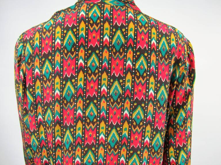Women's 1970s Vintage Yves Saint Laurent Silk Multi Colored Blouse Russian Collection 76 For Sale