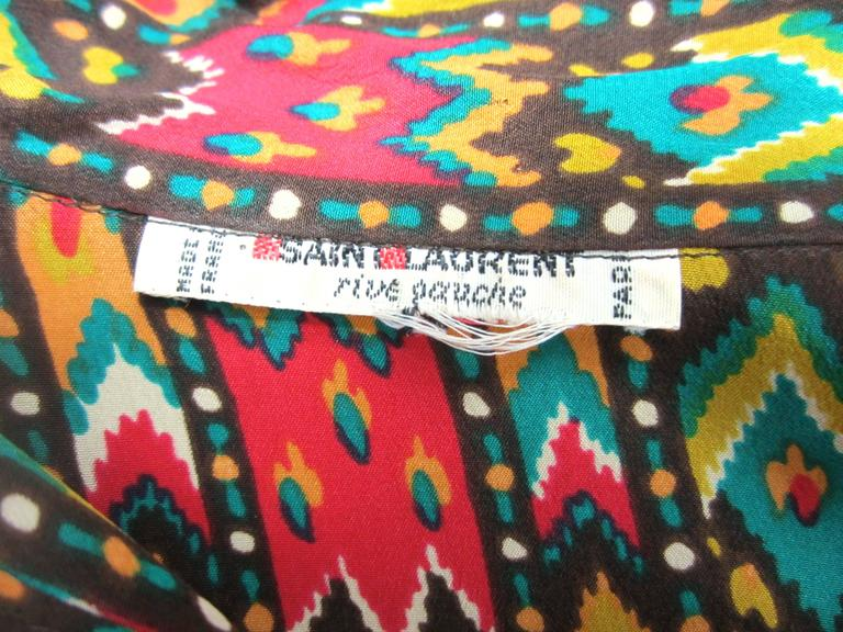 1970s Vintage Yves Saint Laurent Silk Multi Colored Blouse Russian Collection 76 For Sale 1