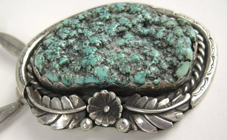 Old Pawn Native American Sea Foam Turquoise Sterling Silver Necklace Pendent 2
