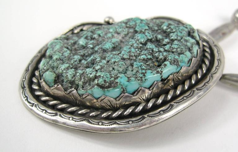 Old Pawn Native American Sea Foam Turquoise Sterling Silver Necklace Pendent 3