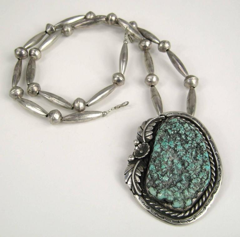 Old Pawn Native American Sea Foam Turquoise Sterling Silver Necklace Pendent 5
