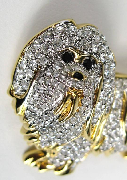 Rare Retired Swarovski Maltese Dog Crystal Brooch Pin New Old Stock  2