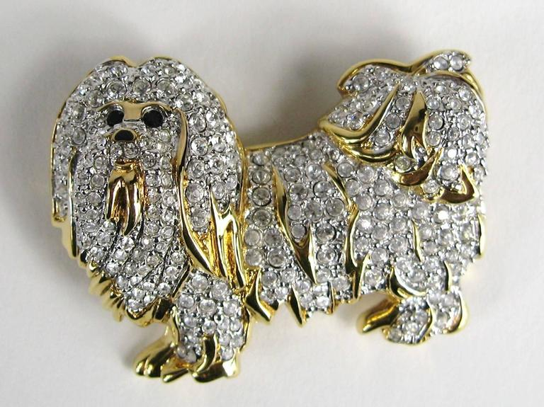 Rare Retired Swarovski Maltese Dog Crystal Brooch Pin New Old Stock  3