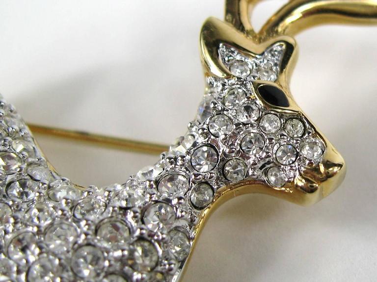SWAROVSKI Crystal Deer Gold Gilt Brooch Pin Never Worn 1990s  2