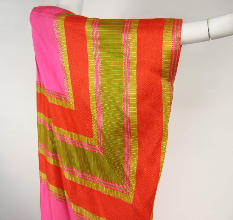 Amazing Vintage Silk Dupioni Pink Orange Caftan Dress