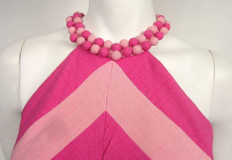 Vintage 1960s Chevron Bubble gum PINK Stripe Dress 2