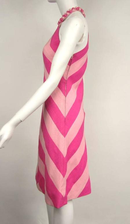 Vintage 1960s Chevron Bubble gum PINK Stripe Dress 3