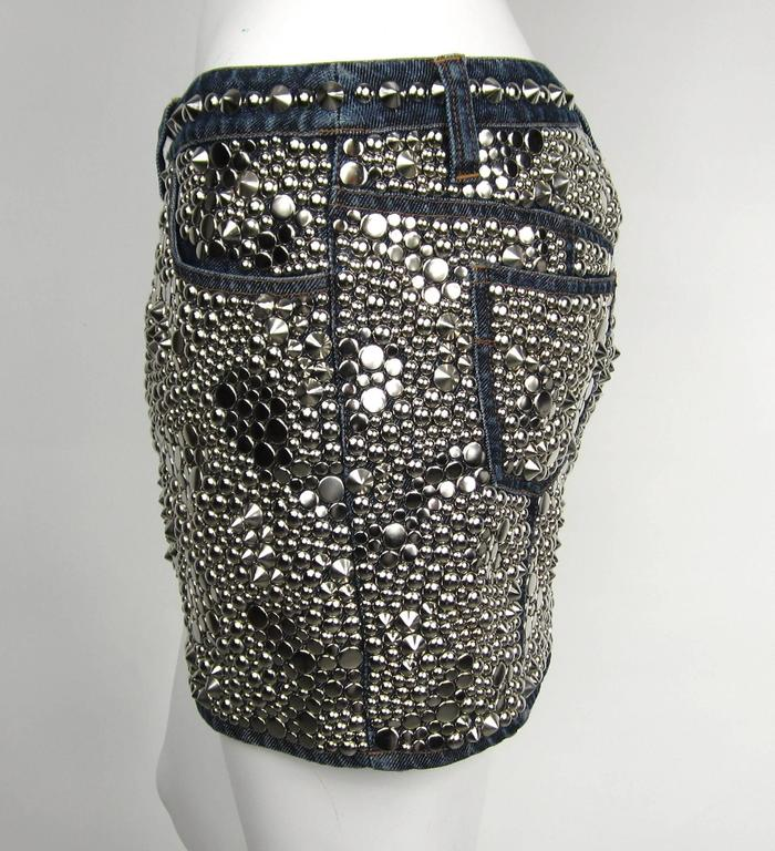 Black Stunning 1990s Gianni Versace Studded  Denim Mini Skirt  For Sale
