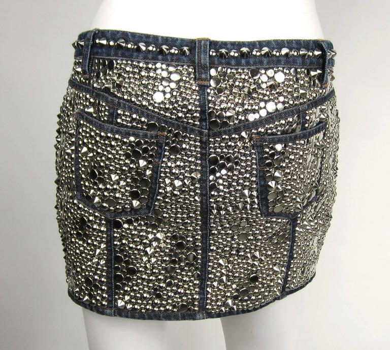Stunning 1990s Gianni Versace Studded  Denim Mini Skirt  In New Never_worn Condition For Sale In Wallkill, NY