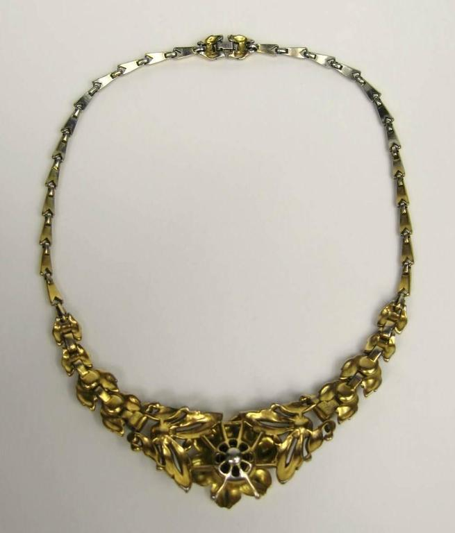 1939 Alfred Philippe Trifari Pave Floral Trembler Necklace  5