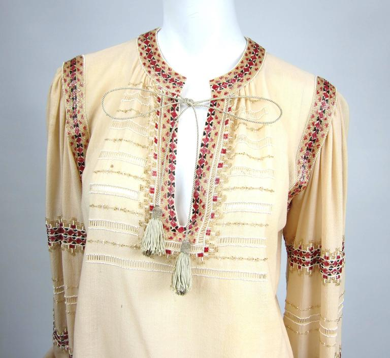 Russian Collection Yves Saint Laurent Beaded 1976 Pheasant Blouse Shirt Numbered 2