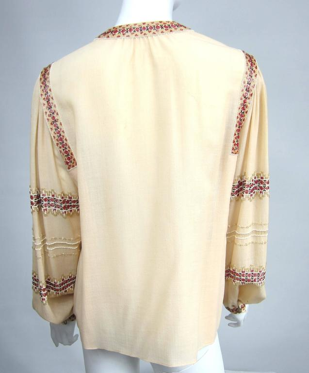 Russian Collection Yves Saint Laurent Beaded 1976 Pheasant Blouse Shirt Numbered 4
