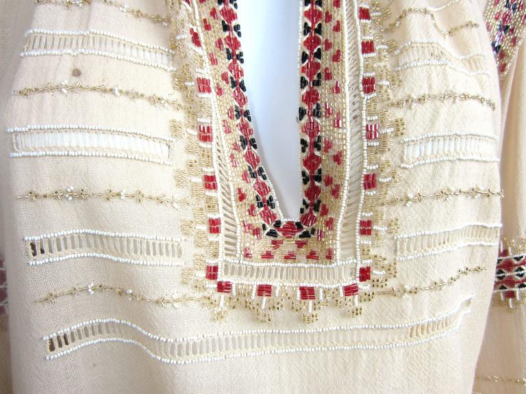 Russian Collection Yves Saint Laurent Beaded 1976 Pheasant Blouse Shirt Numbered 7