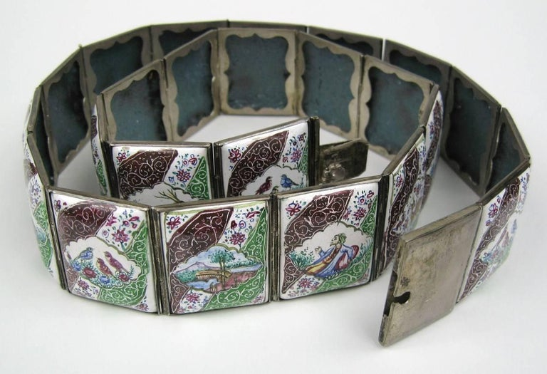 Vintage Hand Painted Indo Persian Enamel Art Tile Silver Belt  In Excellent Condition For Sale In Wallkill, NY