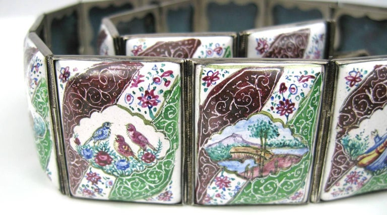 Women's Vintage Hand Painted Indo Persian Enamel Art Tile Silver Belt  For Sale
