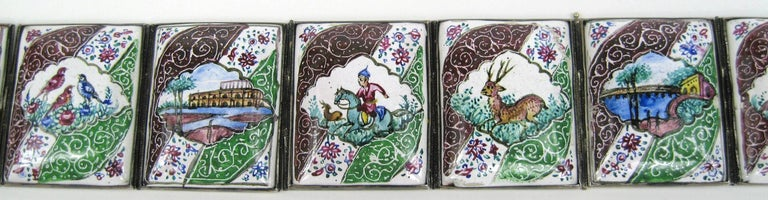 Vintage Hand Painted Indo Persian Enamel Art Tile Silver Belt  For Sale 1