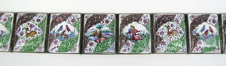Vintage Hand Painted Indo Persian Enamel Art Tile Silver Belt  For Sale 2