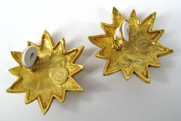 1980's Dominique Aurientis Gold Gilt Star Massive Earrings New, Never worn In New Condition For Sale In Wallkill, NY