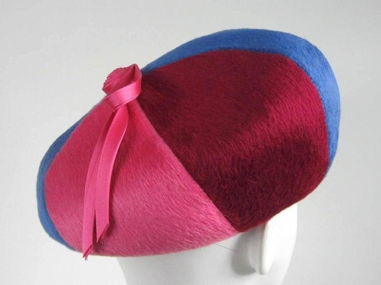Beige Vintage 1960s Beret Hat Pink Burgundy Blue and White For Sale