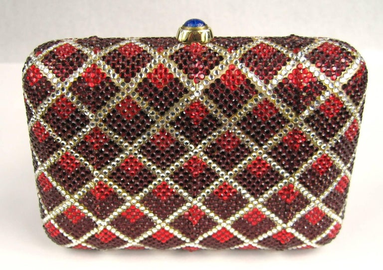 Brown Judith Leiber Red Swarovski Crystal Minaudiere Evening Bag Clutch Holiday Runway For Sale