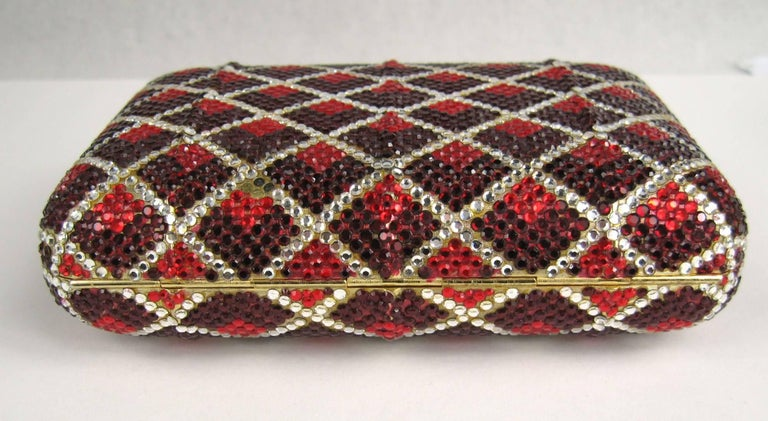Women's Judith Leiber Red Swarovski Crystal Minaudiere Evening Bag Clutch Holiday Runway For Sale