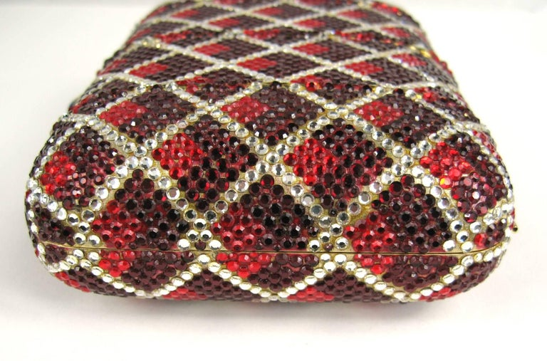 Judith Leiber Red Swarovski Crystal Minaudiere Evening Bag Clutch Holiday Runway For Sale 2
