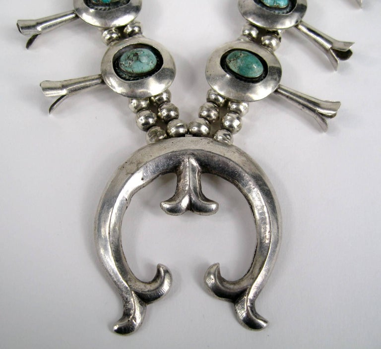 Sterling Silver Turquoise Navajo Squash Blossom Necklace Native American  In Good Condition For Sale In Wallkill, NY