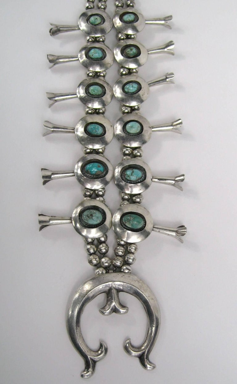 Women's or Men's Sterling Silver Turquoise Navajo Squash Blossom Necklace Native American  For Sale