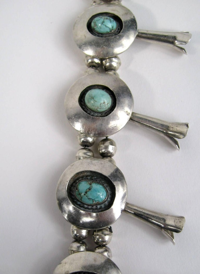 Sterling Silver Turquoise Navajo Squash Blossom Necklace Native American  For Sale 2