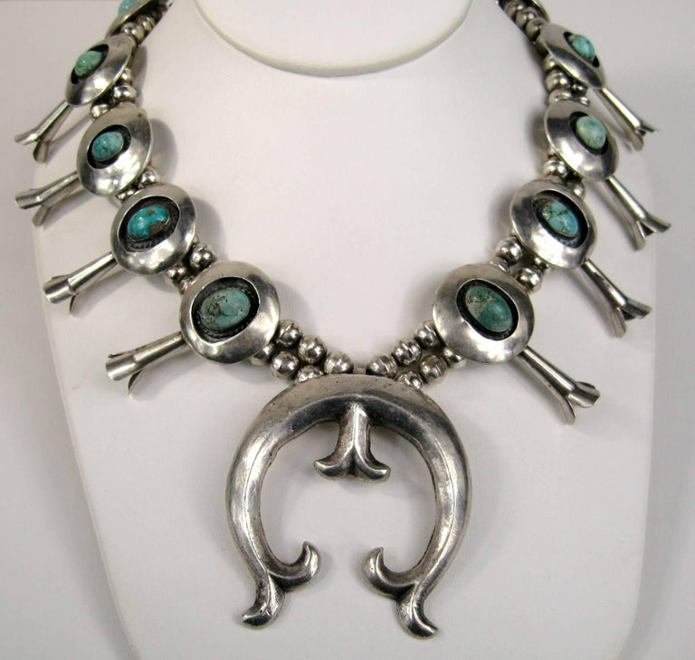 Sterling Silver Turquoise Navajo Squash Blossom Necklace Native American  For Sale 4