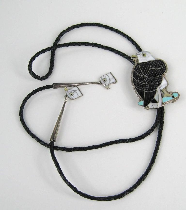 Black Native American Sterling Silver Zuni Sheyka Eagle Bolo Tie For Sale