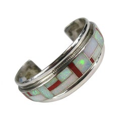 Native American Zuni channel inlay Coral and opal sterling silver cuff bracelet