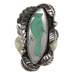 Native American Old Pawn Turquoise Mother Of Pearl Sterling Silver RIng