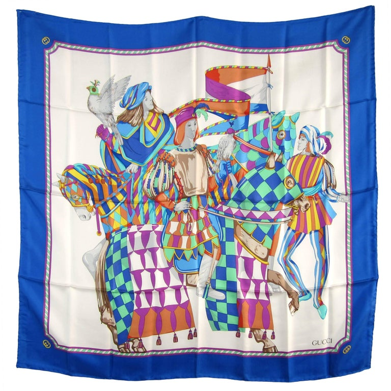 1990s Silk Gucci Scarf Horse New Never Worn