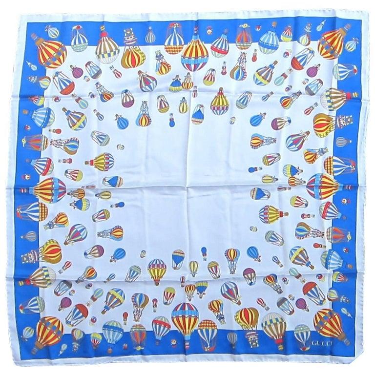 1990s Gucci Blue Balloon Festival silk scarf Never worn