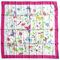 1990s New GUCCI silk Butterfly - Flora Scarf Never Worn