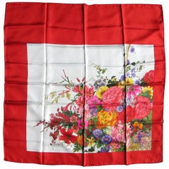 1990s Gucci RED Floral Flower Motif silk Scarf,  Never worn